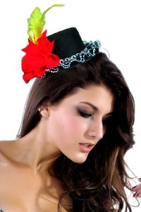 Top hat with feather and red flower is very popular 200x300 Top hat with feather and red flower is very popular
