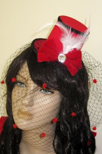 Red Mini Top hat With Black Lace latest trend hat  200x300 Red Mini Top hat With Black Lace latest trend hat