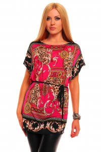 Short Sleeve With Longtop Fantasy Print Pink LC25068 2 200x300  Print Pink clubwear give you different feeling